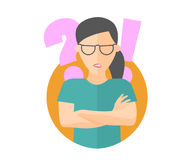 Pretty girl in glasses angry doubts, offended. Flat design icon. Woman with a question and exclamation marks. Simply editable isol. Ated on white vector sign Stock Photos