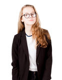 Pretty girl with glasses in black suit isolated. On white Stock Images