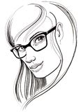 Pretty girl in glasses. Ink drawing of a pretty girl in glasses Stock Photo