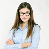 Pretty girl with glasses Royalty Free Stock Photography