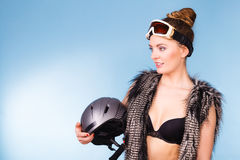 Pretty girl with goggle and helmet. Stock Image