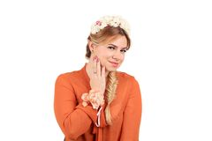 Pretty girl with golden braid. Royalty Free Stock Photos