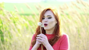 Pretty girl with golden hair blowing the dandelion on the background. Slowly.  stock video