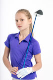 Pretty girl golfer on white backgroud in studio. Pretty girl golfer posing with golf club on white backgroud in studio Stock Photos