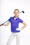 Pretty girl golfer on white backgroud in studio Stock Image