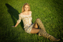 A pretty girl on the grass Stock Photos