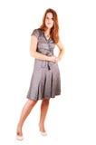 Pretty girl in gray dress. Stock Image