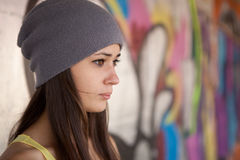 Pretty girl with gray hat Royalty Free Stock Images