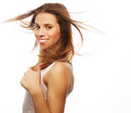Pretty girl with great fly-away hair Stock Images