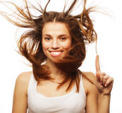 Pretty girl with great fly-away hair Royalty Free Stock Photo