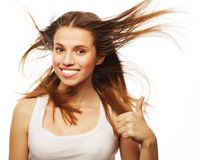 Pretty girl with great fly-away hair Royalty Free Stock Photos