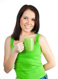 Pretty girl with a green cup Stock Photos