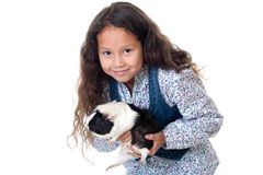 Pretty girl with guinea pig Royalty Free Stock Photo