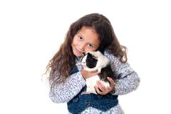 Pretty girl with guinea pig Royalty Free Stock Photos