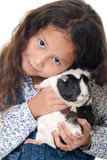 Pretty girl with guinea pig royalty free stock images