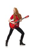 Pretty girl with guitar isolated on the white Royalty Free Stock Photo