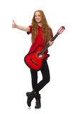 Pretty girl with guitar isolated on the white Stock Photo