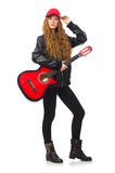 Pretty girl with guitar isolated on white Royalty Free Stock Photo