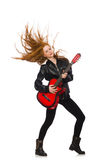 Pretty girl with guitar isolated on white Stock Photography