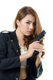 Pretty girl with a gun Stock Images