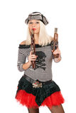 Pretty girl with guns Stock Photography