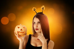 Pretty girl in halloween style clothes Royalty Free Stock Photo