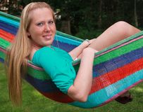 Pretty girl in a hammock Royalty Free Stock Photography