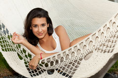 Pretty Girl on a Hammock in South Beach Royalty Free Stock Photos