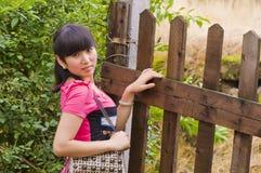 Pretty girl and handbag Stock Photography