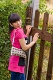 Pretty girl and handbag Stock Image