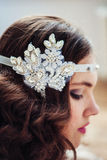 Pretty girl with handmade floral headband Royalty Free Stock Images