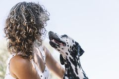 Pretty girl and a happy dalmatian dog royalty free stock image