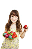 A pretty girl happy with her Easter eggs Royalty Free Stock Photos