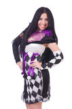 Pretty girl in harlequin costume isolated on white Stock Photos