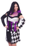 Pretty girl in harlequin costume isolated on white Royalty Free Stock Images