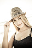 Pretty girl with hat Stock Photo