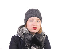 Pretty girl with hat. Portrait of a pretty woman with grey cap Royalty Free Stock Image