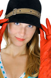 Pretty girl in hat and gloves Royalty Free Stock Images