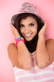 Pretty girl in hat smiling Stock Images