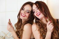 Pretty girl having fun in bathroom Royalty Free Stock Photos