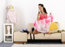 Pretty girl having fun at home laughing Royalty Free Stock Photography