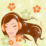Pretty girl with headphones.  illustration Stock Images