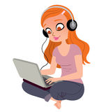 Pretty girl with headphones and laptop Royalty Free Stock Photos