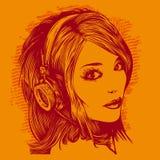 Pretty girl with headphones listen music Royalty Free Stock Photo