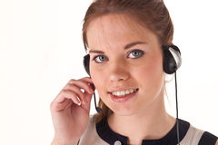 Pretty girl with headset Stock Images