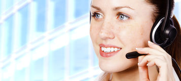 Pretty girl with headset Royalty Free Stock Photo