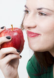 Pretty girl with healthy apple Royalty Free Stock Images