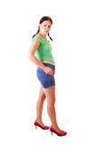 Pretty girl in heels and shorts. Royalty Free Stock Photos