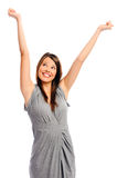 Pretty girl with her arms up Stock Images