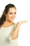 Pretty girl with her hand up Stock Photography